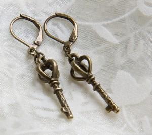 Kupfer Schlüssel Ohrringe