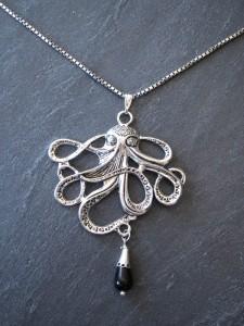 Silberner Oktopus Anhänger