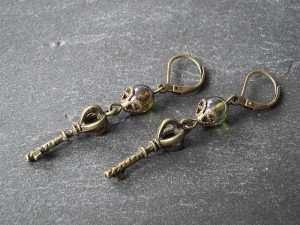 Smaraged Tropfen Schlüsselchen Ohrringe